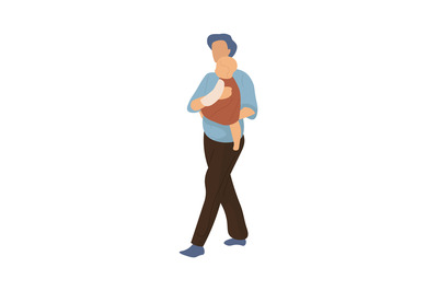 Cartoon family walking. Man carries little child, mother or father wit