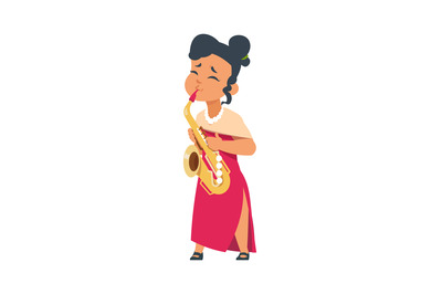 Cartoon girl playing sax. Female in red dress and saxophone, woman wit