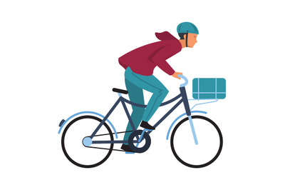 Cartoon man on bicycle. Simple character in casual clothes and helmet