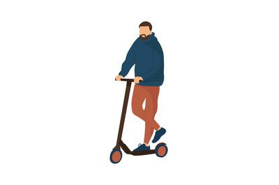 Cartoon man riding scooter. Modern ways of moving around city. Walking