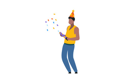Cartoon dancing man with party hat. Festival with crackers, confetti a