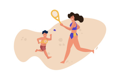 Family beach activity. People in swimsuits playing tennis. Mother and