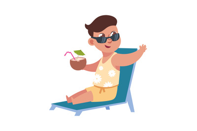 Flat child on summer holidays at beach. Cute boy sitting on lounge wit