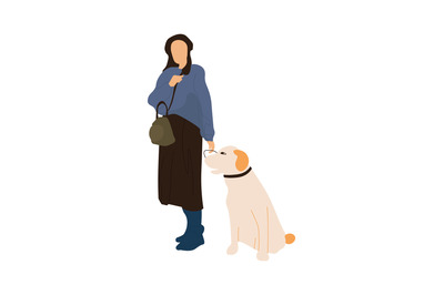 Trendy woman with dog. Female walking with animal, recreation in city.