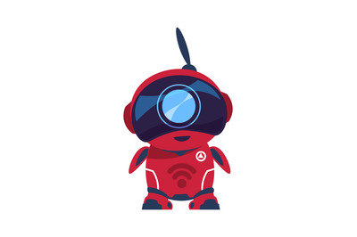 Friendly robot character. Smart toy, electronic mascot. Red android wi