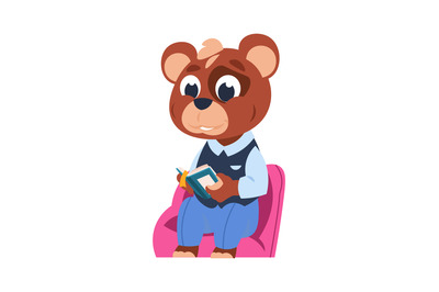 Funny bear character. Little forest citizen sitting and studying, anim