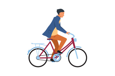 Man riding on bicycle. Cyclist guy in casual clothes rides on bike. Si