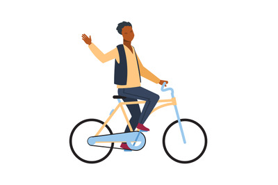 Man riding on bicycle. Cyclist african guy rides on bike and waving ha
