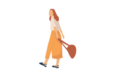 Modern cartoon female person. Woman character going for walk in park.