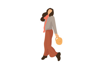 Modern cartoon woman walking. Girl going to park, cozy female clothes.