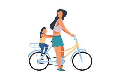 Mother and child on bike. Woman riding on bicycle with daughter. Femal