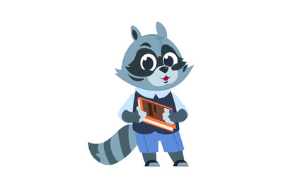 School raccoon character. Animal kid reading textbook, little forest c