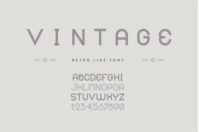 Vintage line font. Typeface with uppercase symbols and numbers. Englis