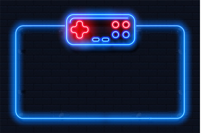 Neon game background. Square shape with joystick, control buttons, con