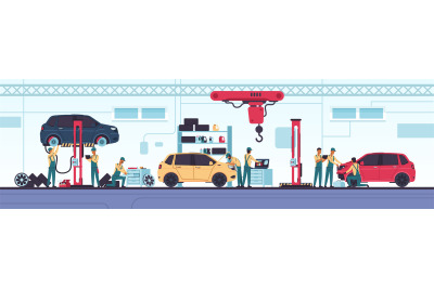 Car service. Auto repair scenes with workers and equipment. Vehicle di