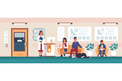 Veterinary. Animal hospital visitors, people with sick pets in clinic