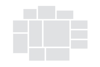 Collage mockup. Mood board template, square gray empty shapes. Mosaic