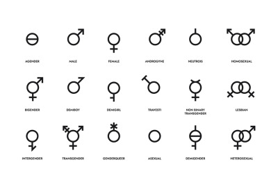 Gender line icons. Sex identity emblems. Sexual orientation sign. LGBT