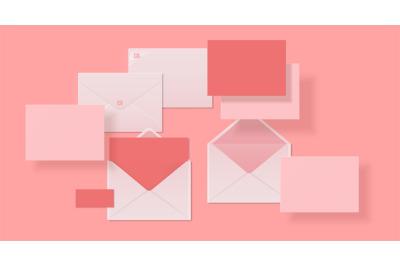 Realistic envelopes. Paper or cardboard 3D mockup design, open and clo