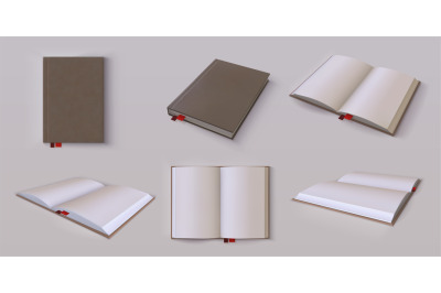 Diary mockup. Realistic blank open and closed planner, 3D hardcover or