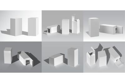 Box mockup. Realistic cardboard white blank packaging for brand identi