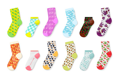 Socks mockup. Realistic colored templates of foot wear, long and short