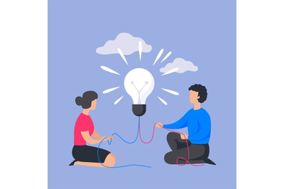 Business people concept. Man and woman with light bulb. Insight in tea