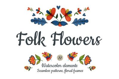 Watercolor folk flowers.