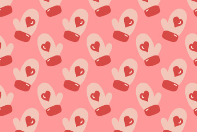 mittens seamless pattern pink