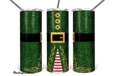 Elf Tumbler PNG, Christmas 20oz Skinny Design Full Wrap Sublimation