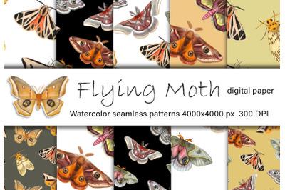 Moth watercolor digital paper. Bright butterflies seamless pattern