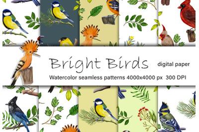 Birds watercolor digital paper. Bright tiny birds seamless pattern