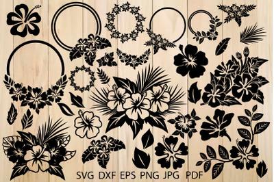 Hibiscus Bundle Svg, Flower SVG, Leaves Svg, Hawaiian Flower