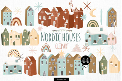 Nordic houses clipart