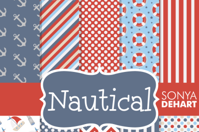 Digital Papers Nautical Patterns