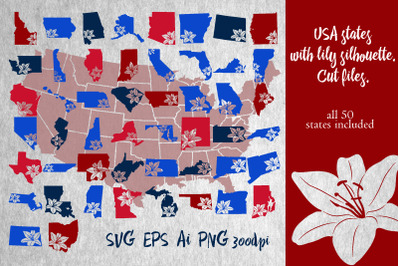 USA states with lily silhouette. Cut files.