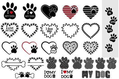 Animal Paw Bundle with SVG pattern