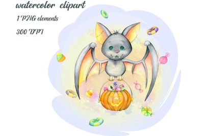 Watercolor Halloween Clipart, Cute Monsters, Witch, Vampire, Ghost, Sk