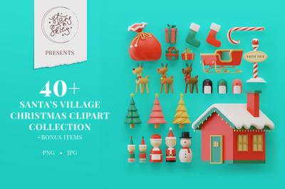 Santa's Village Christmas Clipart Collection
