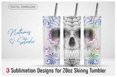 3 Elegant  Sugar Skulls sublimation designs - 20oz SKINNY TUMBLER