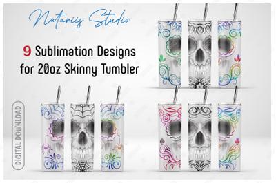 9 Elegant Sugar Skulls sublimation designs - 20oz SKINNY TUMBLER
