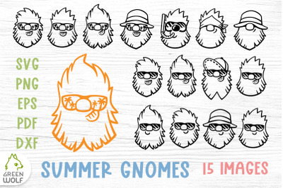 Summer gnome svg bundle Gnome face svg Cool gnome clipart Biker svg