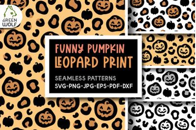 Halloween pumpkin leopard print svg Halloween pattern svg bundle