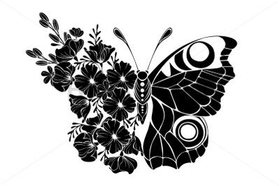 Flower Butterfly with Black California Poppy