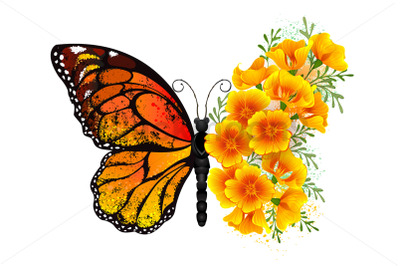 Flower Butterfly with Yellow California Poppy