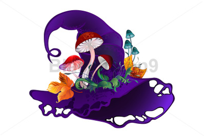 Purple Witch Hat with Mushrooms