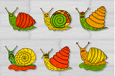 Scary halloween snails printable stickers for Cricut