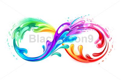 Infinity Symbol with Rainbow Paint