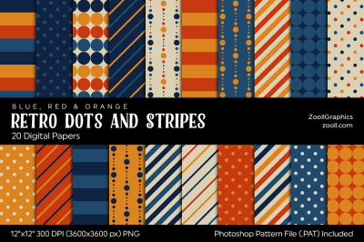 Retro Dots And Stripes Digital Papers