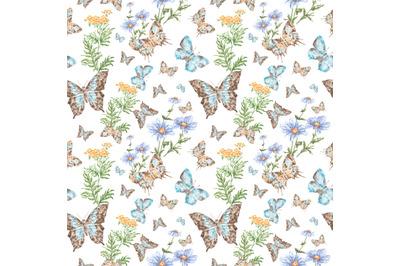Butterflies watercolor seamless pattern. Butterflies and wildflowers.